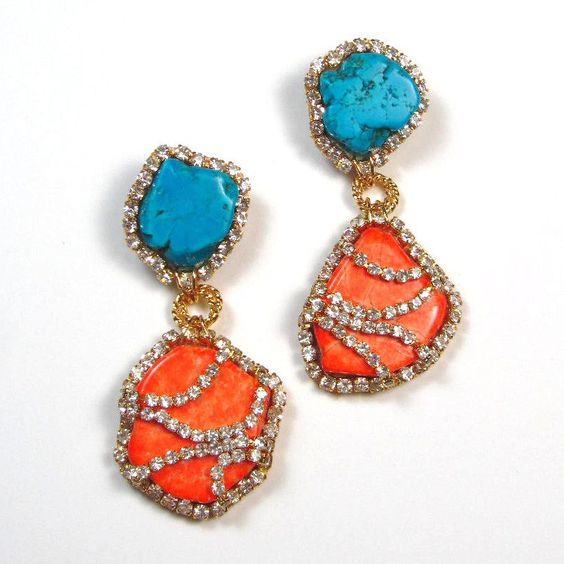Statement earrings turquoise blue and tangerine crystal embellished earrings orange and blue summer earrings. $110.00, via Etsy.