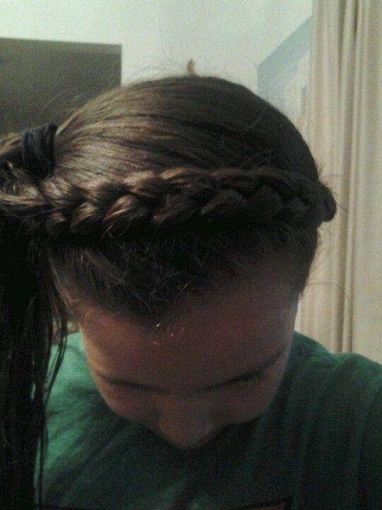 Adrianna braided her own headband.so talented
