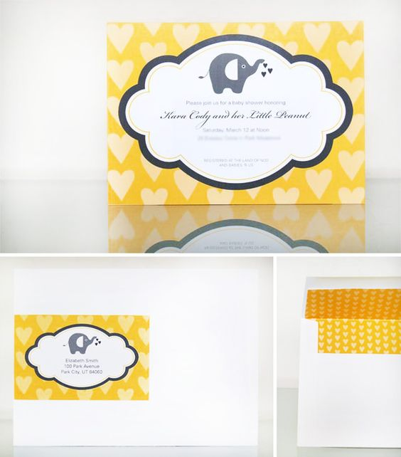 Mod Elephant Baby Shower in Yellow and Gray: Elephant Baby Showers, Baby Shower Invitations, Baby Shower Ideas, Baby Shower Yellow, Baby Shower Themes, Yellow Baby Showers, Paige Sbabyshower, Diy Baby Shower