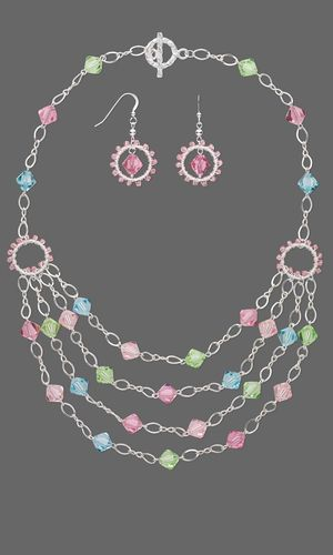 Multi-Strand Necklace and Earring Set with Swarovski® Crystal Beads and Sterling Silver Chain