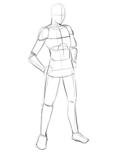 poses for drawing template | Berikut contoh sketsa proporsi tubuh untuk pria: