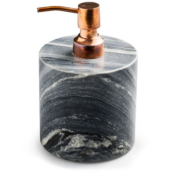 Nordstjerne Grey Marble Soap Pump - Copper ($83) ❤ liked on Polyvore featuring home, bed & bath, bath, bath accessories, grey, colored pumps, copper soap dispenser, copper bath accessories, marble bathroom accessories and gray pumps