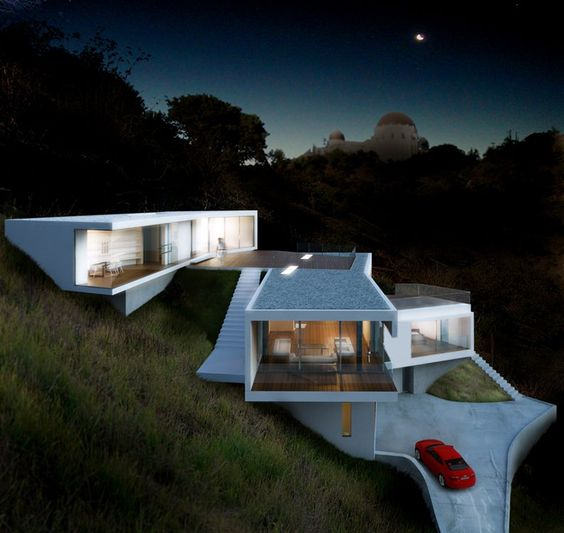 Modern Hollywood Hills Architecture LosAngeles Hillside