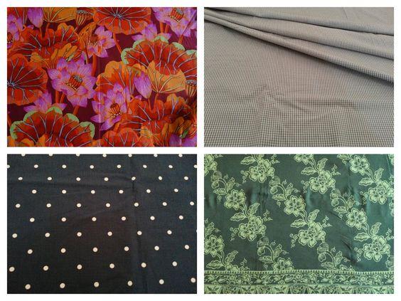 orange floral cotton, grey gingham, dark blue polka dots stretch cotton and green batik for summer dresses
