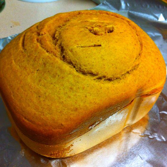 Pumpkin Bread I made in my new bread maker! (: