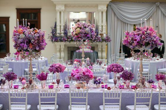 Reception Decor Gorgeous Flower Arrangements In Shades