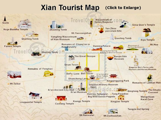 Xian Tourist Map Go here to learn about great travel destinations – North America Travel Map