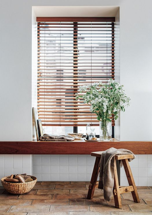 "Faux Wood Blinds are gorgeous, durable, and resistant to mildew. Shown in 2"" faux Teak. 