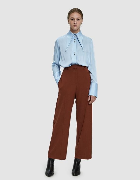 Front Seam Wide Leg Pants in Rust