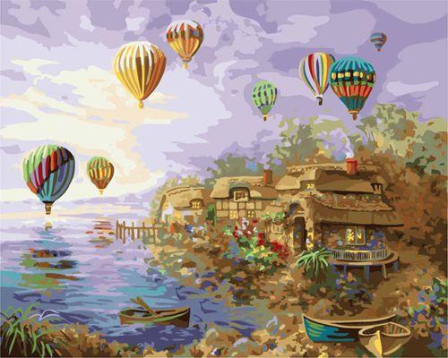 Hot Air Balloons Over Village HP Design Needlepoint Canvas E#261