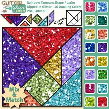 Tangram clipart for math dipped in glitter is in store! Would you like to get your elementary school-aged kids excited about common core math with fun math manipulatives? Are you looking to put together a fun tangram activity to leave with your art sub?