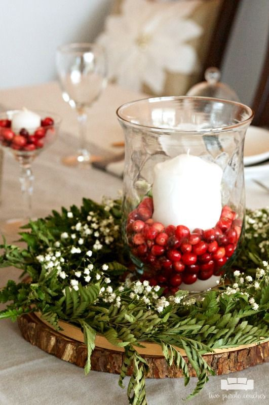 Simple And Natural Christmas Table Decor Two Purple Couches Natural Christmas Decor Christmas Table Centerpieces Christmas Party Table