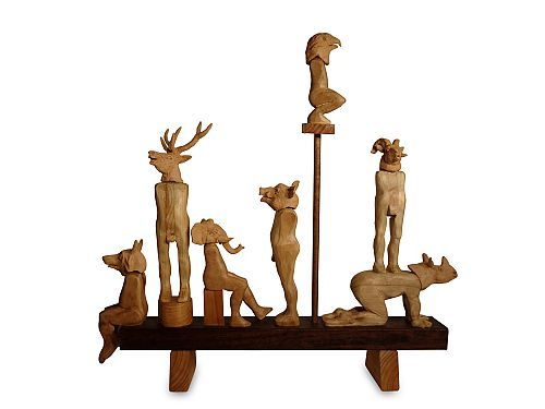 Richard Byrnes Bestiary 1 wood, ceramic 70×70×12cm