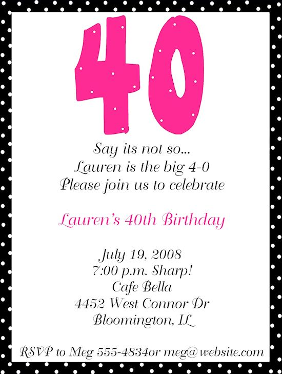 40th birthday party invitation template invite 40th birthday ideas pinterest birthday filmwisefo Image collections