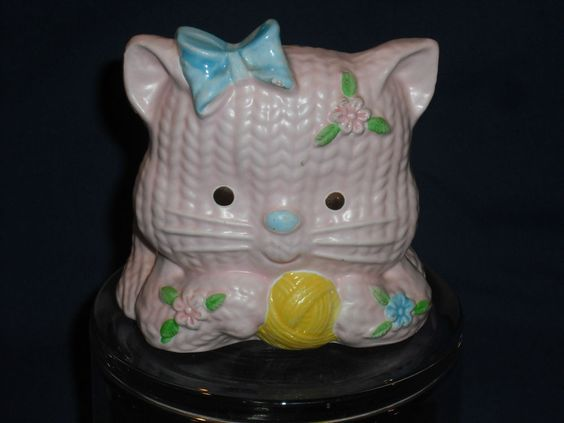 Pink Kitten w/Yellow Yarn Ball, Vintage Napco Planter, Very Cute!