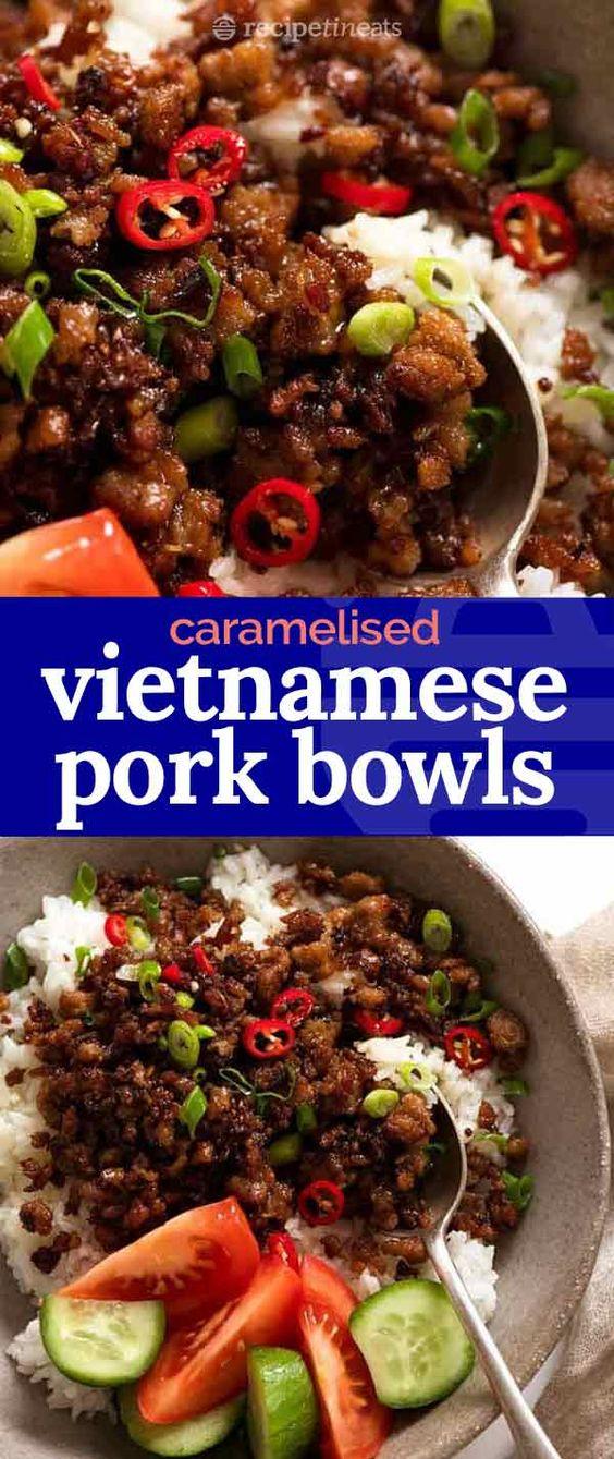 Vietnamese Caramelised Pork Bowls