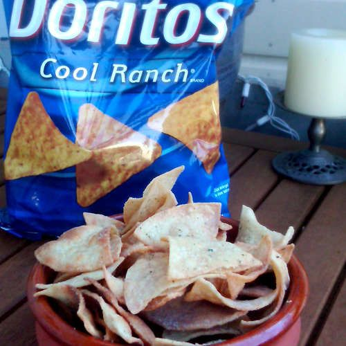 A recipe for Baked Cool Ranch chips to replicate a healthier version of the BELOVED Doritos chips!  Woohoo!  :D