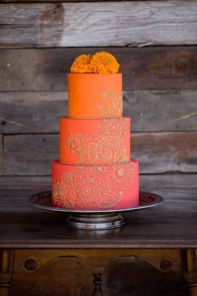 orange ombree wedding cake with gold design.  | Invitations by Ajalon | Ornate and Eye-Catching Indian Wedding Cakes
