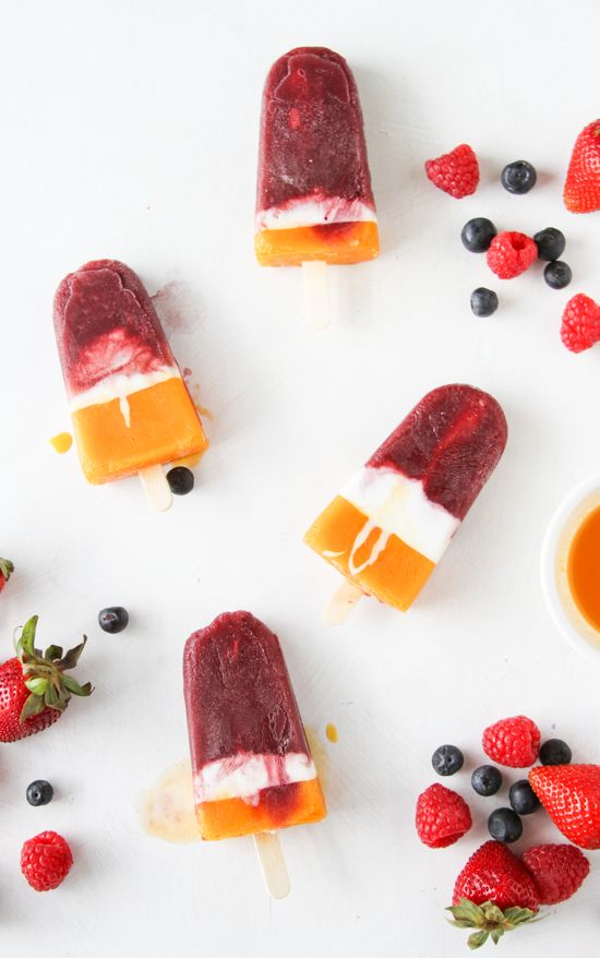 The Easiest Berry + Mango Cream Popsicle Recipe