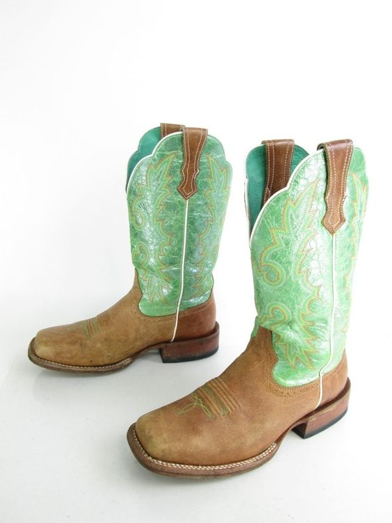 Women's Ariat Lime Green Opalescence Leather Cowboy Western Boots ...