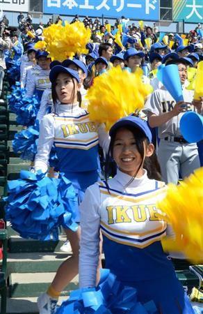 かっこいい高校球児を応援する仙台育英のチアガール