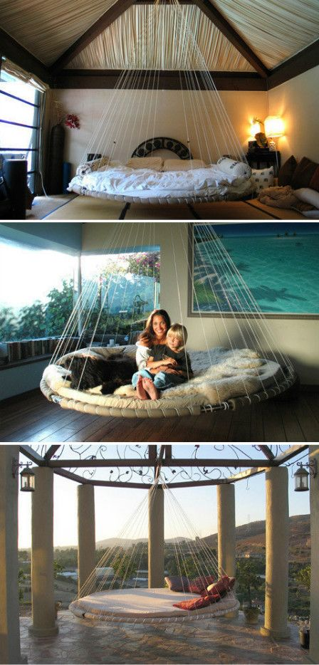 Stylish bedroom sleep and awesome on pinterest for Hanging circle bed