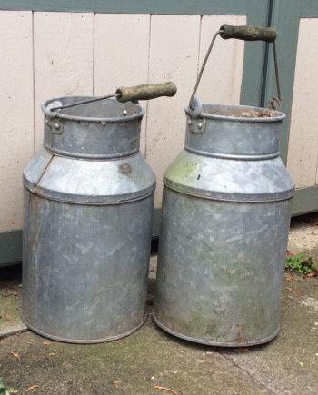 Pair Vintage Milk Churns