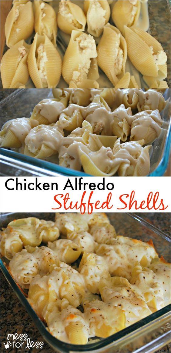 Chicken Alfredo Stuffed Shells - Yummy twist on traditional stuffed shells recipe. Comfort food at its best!: