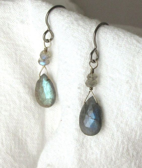 Labradorite Drop Earrings with Labradorite by RocksMapsandCrafts, $27.00