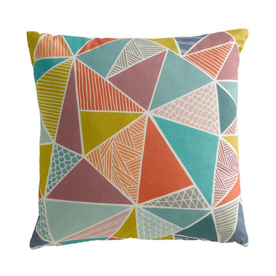 Hand drawn in geometric shapes, this Tress design cushion comes in deliciously bright colours. It works very well on it's own, or perfectly with all other cushions in the collection. Mix and match on your sofa, chair, or bed for a modern and colourfully designed room.  This high quality, luxury cushion is digitally printed onto 100% cotton. Backed with 100% natural cotton.  43cm x 43cm, with zip.  All cushions are printed in the UK and made in Wales.