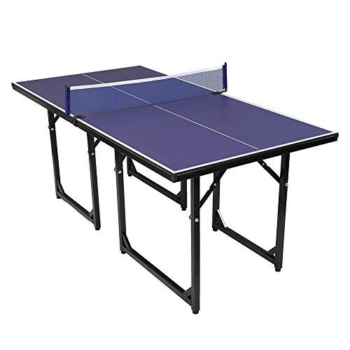 Pexmor Foldable Table Tennis Ping Pong Table Pre Assembled Multi Use Midsize Compact Table Tennis With Net And Folding Ping Pong Table Ping Pong Table Tennis