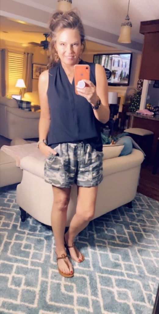 Camo Shorts Paired With a Long Cardigan | B and B Blog