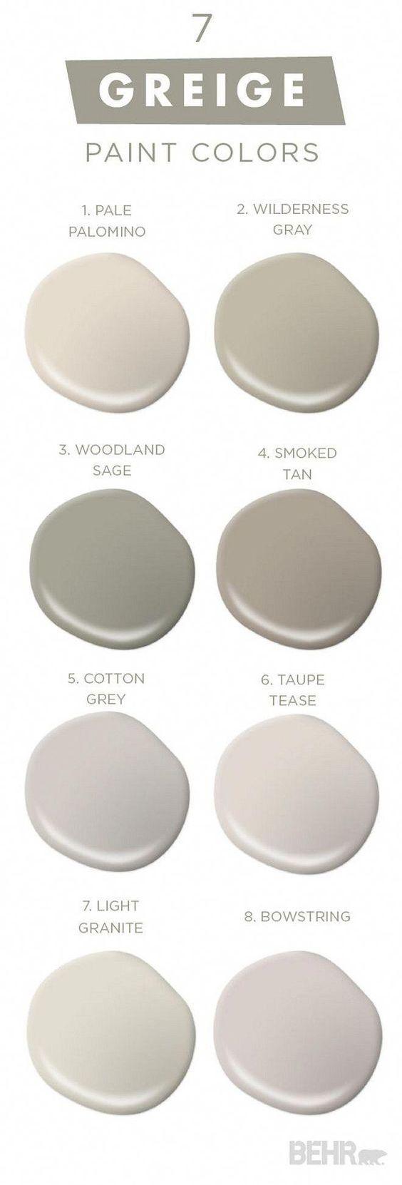 7 Greige Paint Colors. Greige Best Seller Paint Colors by Behr. Behr Pale Palomino. Behr Wilderness Gray. Behr Woodland Sage. Behr Smoked Tan. Behr Cotton Grey. Behr Taupe Tease. Behr Light Granite. Behr Bowstring #BehrPalePalomino #BehrWildernessGray #Be #bedroompaintcolors
