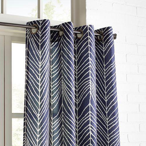 Brooklyn Herringbone Navy 108 Grommet Curtain Grommet Curtains