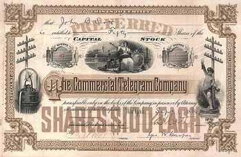 Commercial Telegram Co. 100 pref. shares à 100 $ 25.6.1884.