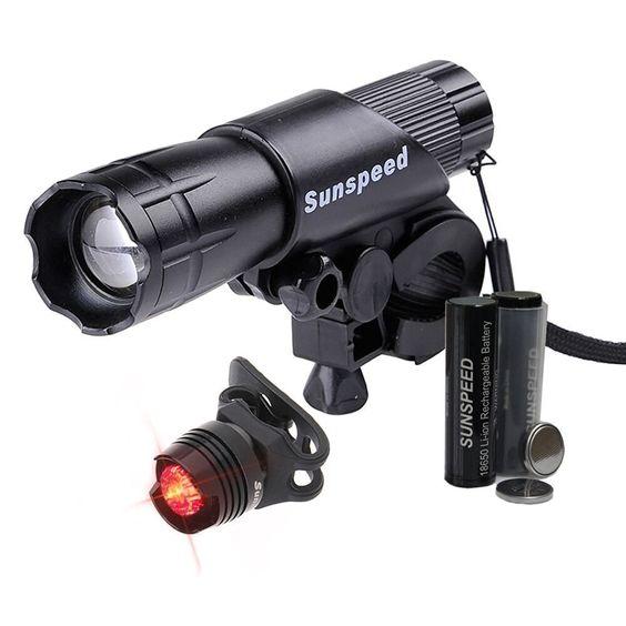 SUNSPEED extrem hell- Wasserdicht - LED TASCHENLAMPE SET mit Wiederaufladbare Akkus / Outdoorlampe inkl. Halterung und Rücklicht Lampe