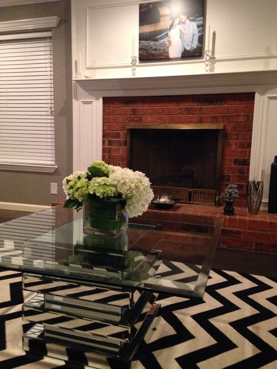 Damask rug with mirrored table