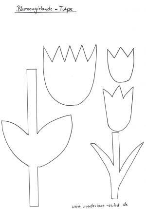 Schablonen 2 schablone blumengirlande tulpe fr hling for Bastelvorlage schmetterling kostenlos