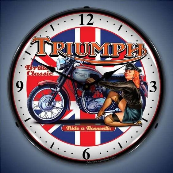 119 95 Retro Triumph Bike Lighted Wall Clock Your Sign