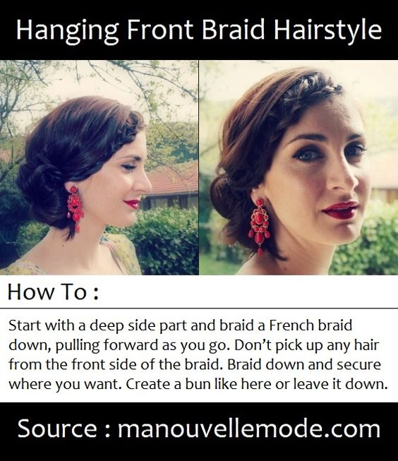 Hanging Front Braid Hairstyle | PinTutorials