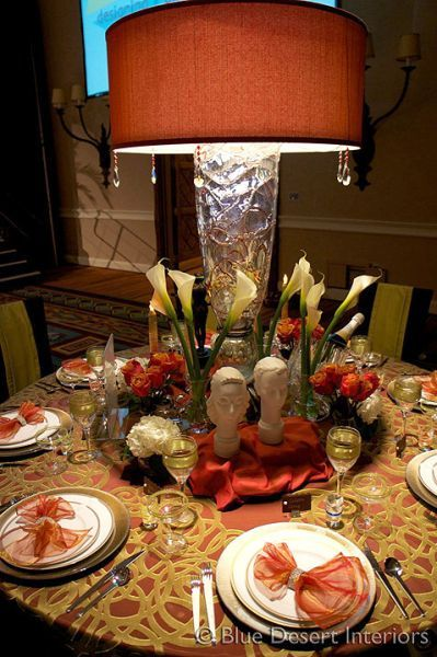 "We created an enchanting tabletop for the Ryan House Benefit, Tableau 2010.  The sheer drapery as a table dressing is a smart way to add drama to your table decorating!  ""Art Deco in the Desert"" by Blue Desert Interiors. #Tableau #TableLinen #TableDecorating"