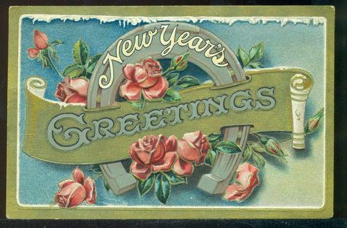 GREETINGS on Scroll Silver Horseshoe Pink Roses Vintage 1913 New Year Postcard: