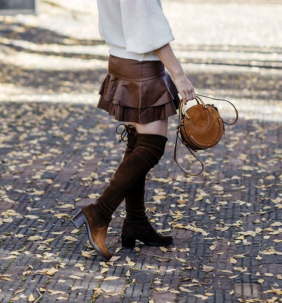 leather ruffled skirt, Allyson in Wonderland