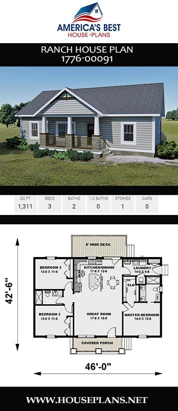 House Plan 1776 00091 Ranch Plan 1 311 Square Feet 3 Bedrooms 2 Bathrooms In 2020 House Plans Farmhouse Ranch House Plan Small House Floor Plans