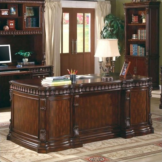 Lowest price online on all Coaster Union Hill Double Pedestal Desk in Rich Brown - 800800