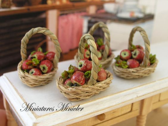 Dollhouse Miniature Apples In The Wicker Basket by Minicler