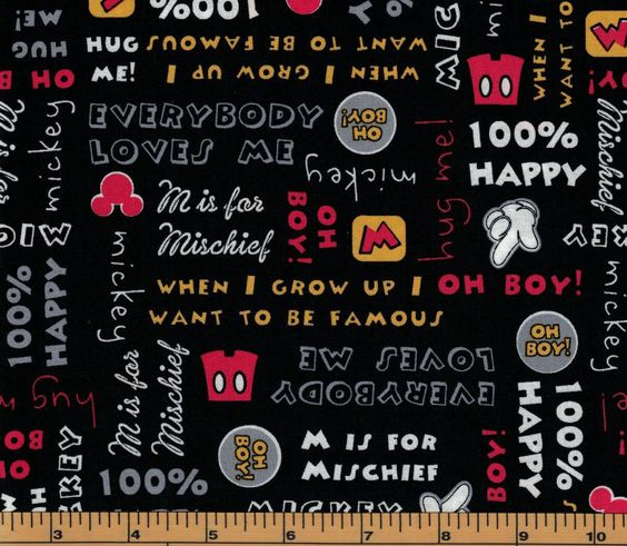 Mickey Words on Black Background- Springs Creative- 100% Cotton Fabric by QuiltsOnTheFly on Etsy