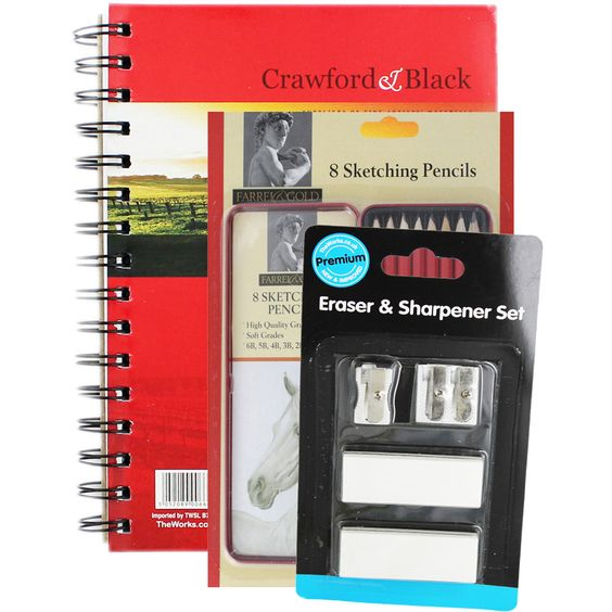 Crawford and Black A5 Sketch Pad with 8 Farrel with Gold Graphite Sketching…