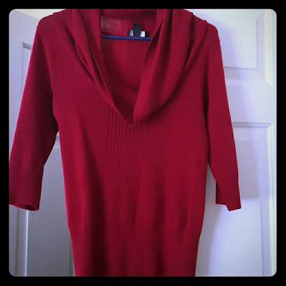 Cowl neck sweater Red cowl neck sweater mid- length sleeve and ribbed bottom Iz Byer Sweaters Cowl & Turtlenecks