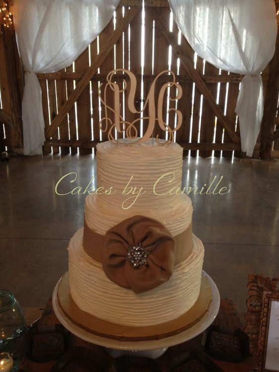 Narrow textured buttercream, accented with burlap ruffle flower and crystal brooch.